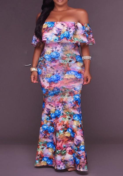 Purple Floral Print Ruffle Boat Neck Off-shoulder Mermaid Party Maxi Dress