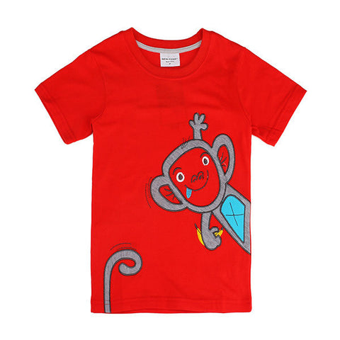 Lovely Monkey Children Boy Pure Cotton Short Sleeve T-shirt Top