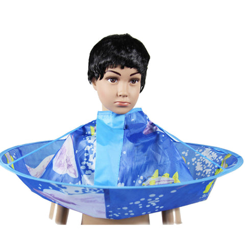 Blue Kids Children Hairdresser Hair Cutting Cape Cloak Clothes Apron For Haircut