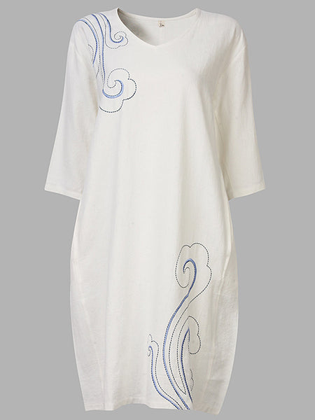 Vintage Embroidery Half Sleeve Pure Color Loose Dress For Women