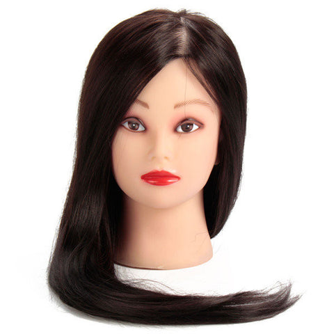 22 Inch 50% Black Real Human Hair Training Head Hairdressing Mannequin Model With Clamp