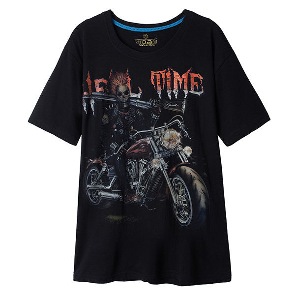Summer Mens 3D Noctilucent Skull Motocycle Printing Noctilucent Round Neck Short Sleeved Tshirts
