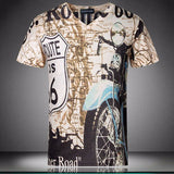Men's Cool Motocycle Printing O-neck Short-sleeved T-shirts Top Tee