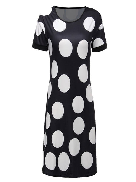 Women Round Neck Short Sleeve Polka Dot Mini Dress