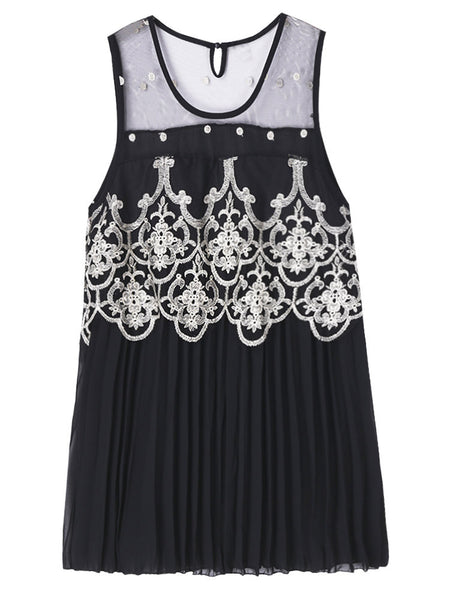 Elegant Women Sleeveless Crochet Patchwork Pleated Chiffon Mini Dress