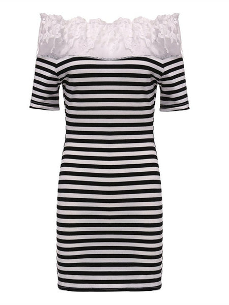 Women Short Sleeve Off Shoulder Lace Stitching Stripe Slim Mini Dress