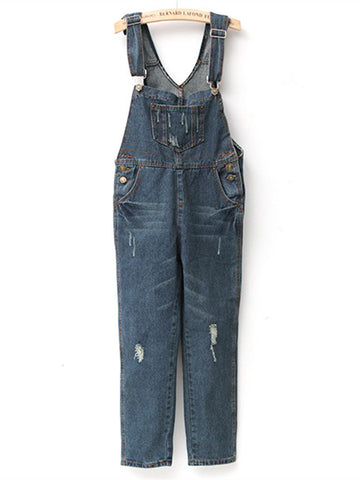 Women Baggy Denim Jumpsuit Full Length Pockets Long Jumpsuit
