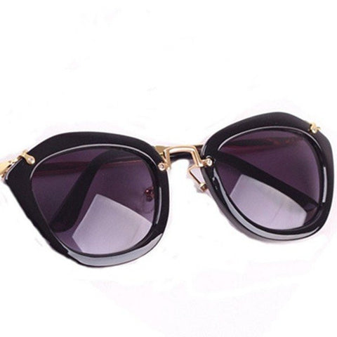 Retro Cat Eye Shades Cool Round Metal Frame Sunglasses