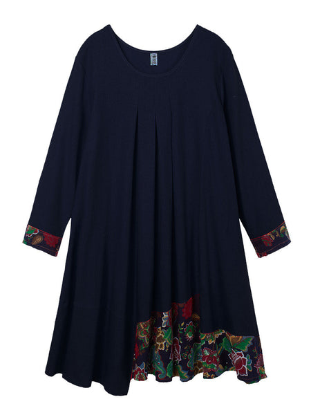 Vintage Printed Patchwork Ethnic Linen A-Line Dress Long Sleeve For Women