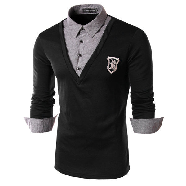 Men's Spring Fake Two Piece Solid POLO Shirt Badge Long-sleeved T-shirt Turn-down Collar Shirts