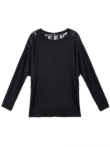 Batwing Lace Loose Long Sleeve O-Neck T-Shirt For Women - shechoic.com