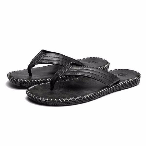 Men European Style Slippers Knitting Clip Toe Flat Beach Flip Flops