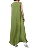 Casual Women Solid Sleeveless Irregular Cotton Linen Maxi Dress