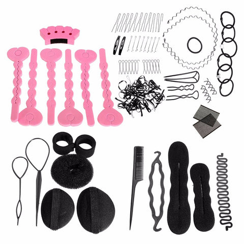 Hair Clip Style Maker Pads Foam Sponge Bun Donut Hairpins Accessory Tool Kit