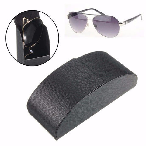 Black Leather Iron Metal Curve Arc Hard Case Box for Eye Glasses Sunglasses