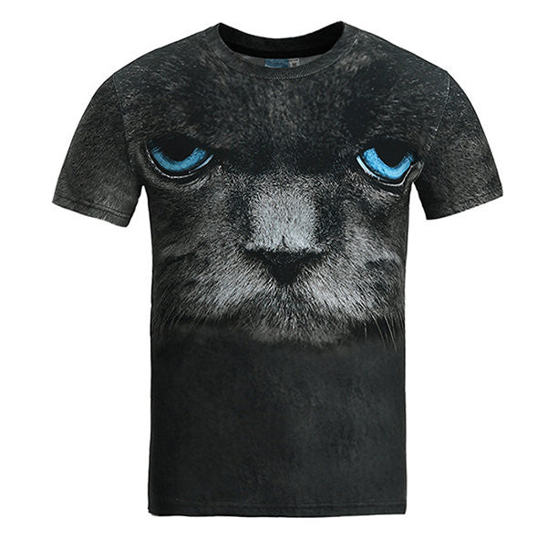 Summer Casual Tee Top 3D Cat Printed Round Neck Short sleeve T-shirt for Men