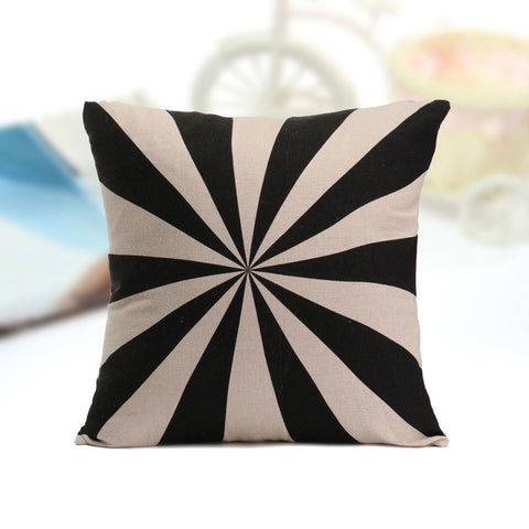 Vintage Black Beige Geometric Throw Pillow Case Cotton Linen Sofa Car Cushion Cover