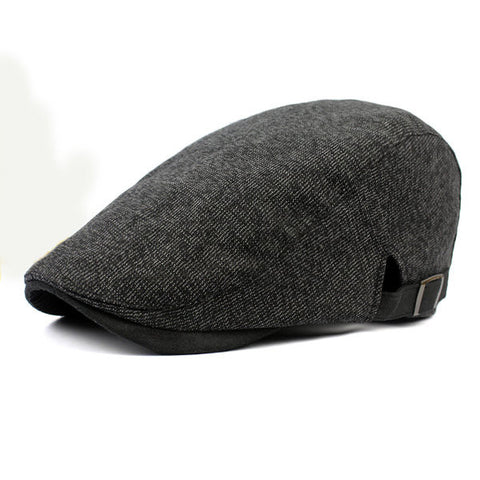 Cotton Male Simple Striped Beret Hat Casual Forward Cap