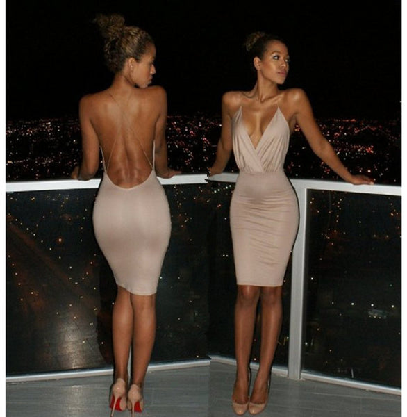 Sexy Plunging Neck Backless Criss-Cross Solid Color Bodycon Dress For Women - Light Khaki