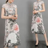 Vintage Women Floral Printed Short Sleeve Chinese Style Dresses
