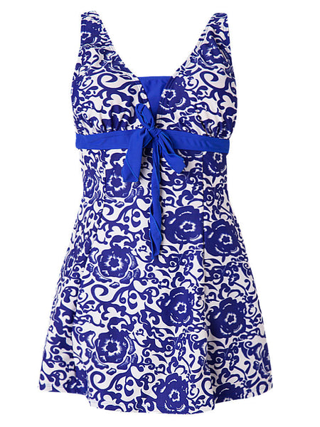 Plus Size Sexy Printing Sleeveless Breathable Swimsuit Dress One Piece Swimwear For Women