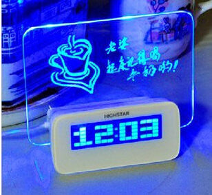 HIGHSTAR Model A Fluorescent Message Board Alarm Clock Digital Calendar Thermometer Fluorescent Ligh