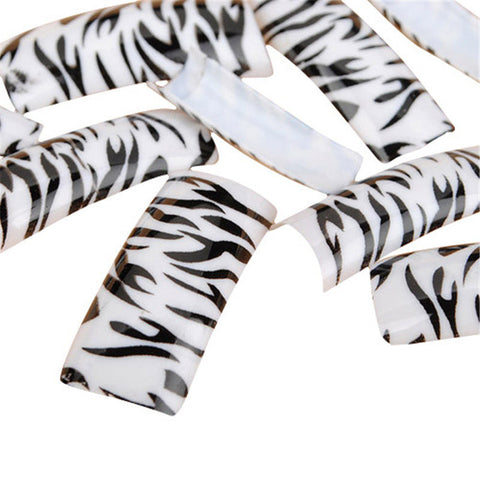 100Pcs Zebra Stripes False Acrylic Nail Art Tips