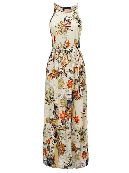Elegant Women Summer Beach Floral Straps Sleeveless Maxi Dress