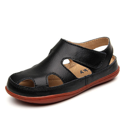 Boys Girls Summer Sandals Kids Genuine Leather Cut Out Shoes