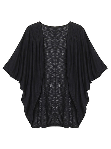 Casual Loose Pure Color Bat Sleeve Cardigan For Women