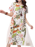 Women Short Sleeve O Neck Floral Printed Ethnic Dress Loose Dress