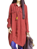 Chinese Style Women Pure Color Button Asymmetric Hem Blouse