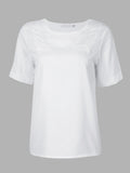 Chiffon Perspective Gauze Short Sleeve StitchingT-Shirt For Women