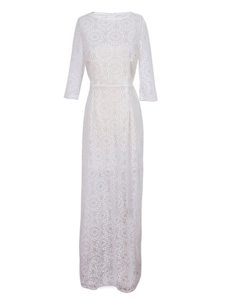 Pure Color Lace Floral Half Sleeve Elegant Women Maxi Dress