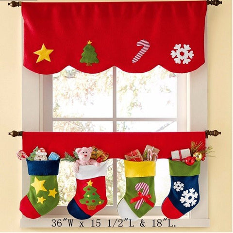 Christmas Sock Xmas Window Curtain Party Banner