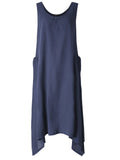 Vintage Women Sleeveless O Neck Pockets High Low Pure Color Maxi Dress