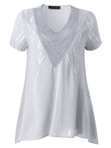 Casual Embroidery Bead Patchwork V-Neck Lace T-Shirt For Women