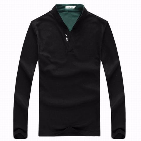 6 Colors Mens Sports Solid Color Long Sleeved Casual Cotton Polo Shirts - shechoic.com