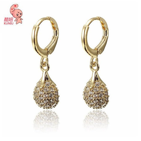 18k Gold Plated Crystal Water Drop Earrings