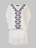 Vintage Floral Embroidery V-Neck Batwing Sleeve Mini Dress