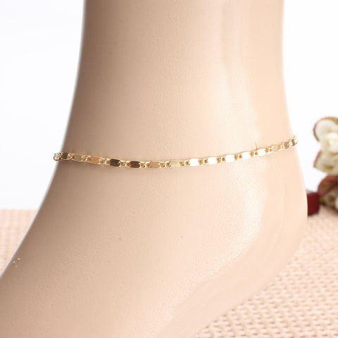 Simple Gold Plated Adjustable Anklet