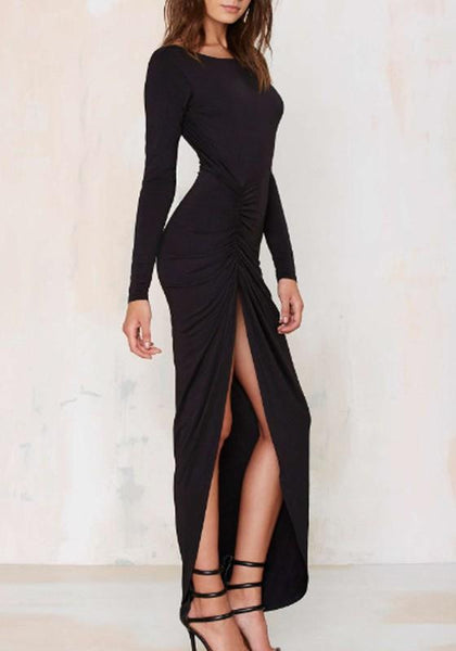 Black Irregular Backless Round Neck Long Sleeve Maxi Dress