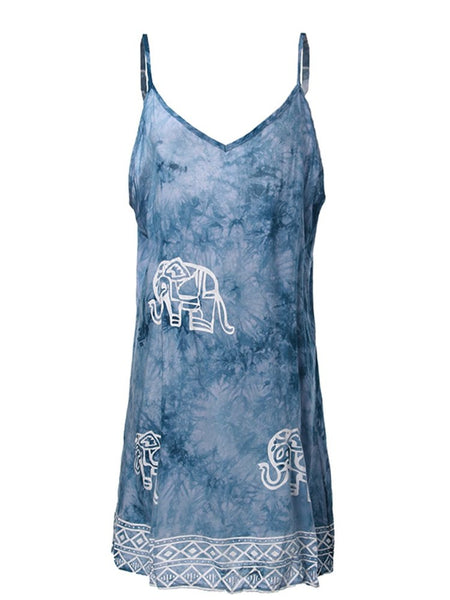 Women Elephant Printed Sleeveless V Neck Short Mini Braces Skirt Dresses