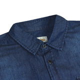 Men's Fashion Cowboy Style Blue Slim Fit Short-sleeved Casual Cotton Shirt