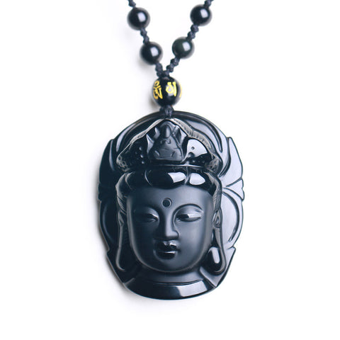 Black Obsidian Carved Kwan-yin Pendant Necklace