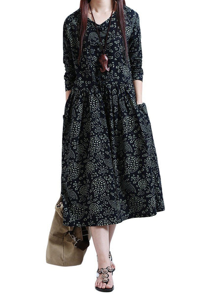 Vintage Loose Women Floral Printed O Neck Long Sleeve Pleated Dress