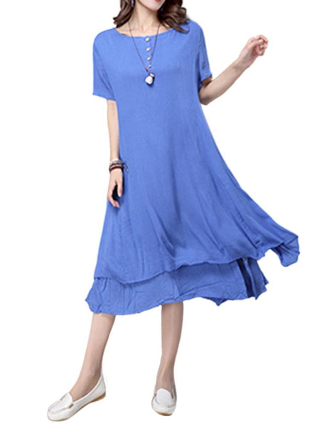 Women Short Sleeve O Neck Pure Color Vintage Dress