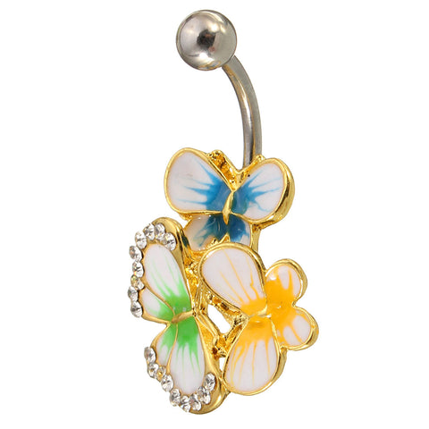 Crystal Colorful Butterfly Belly Navel Bar Ring