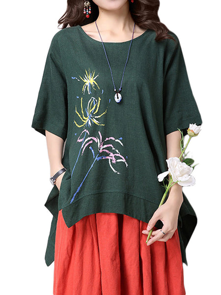 Women Vintage Flower Printed Linen Cotton T-Shirt