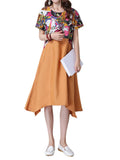 Women Short Sleeve Printed Patchwork Linen A-Linen Swing Dress Vintage Dress